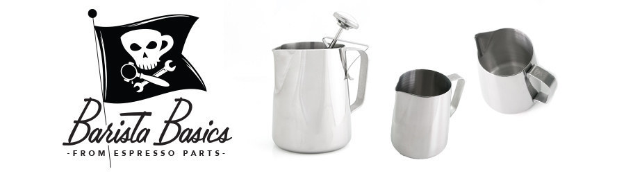 barista frothing milk in a steaming pitcher from espresso parts