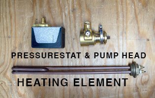Pressure stat, pump head, and heating element